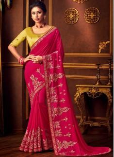 Elegant Look Simple Work Saree With Contrast Designer Blouse Piece
