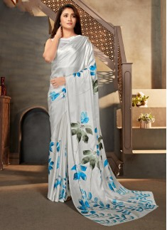 Elegant Print Satin Crepe Material Casual Wear Sar