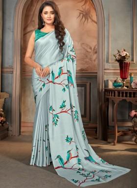 Elegant Print Satin Crepe Material Casual Wear Saree