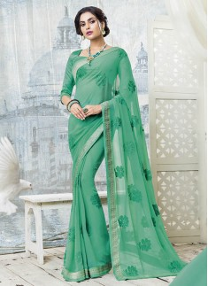 Elegant Rama Green Color Saree With Resham Work