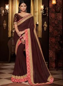 Elegant Saree With Contrast Work Border