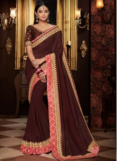 Elegant Saree With Contrast Work Border