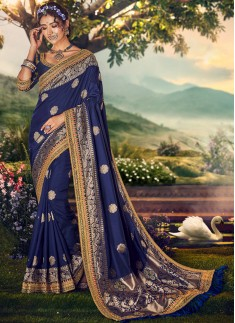 Elegant Silk Saree With Work And Heavy Work Blouse
