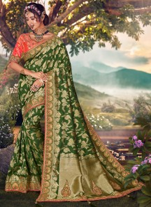 Elegant Silk Saree With Work And Contrast Heavy Work Blouse Piece