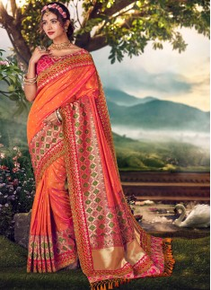 Elegant Silk Saree With Work And Contrast Heavy Wo