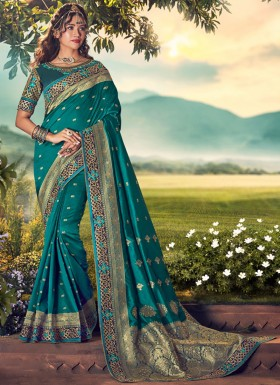 Elegant Silk Saree With Work And Heavy Work Blouse Piece