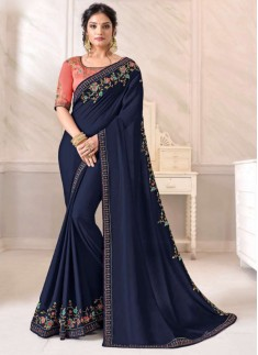 Elegant Small Border Saree With Contrast Heavy Work Blouse Piece