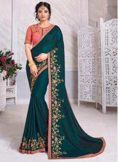 Elegant Small Border Saree With Heavy Work Blouse Piece