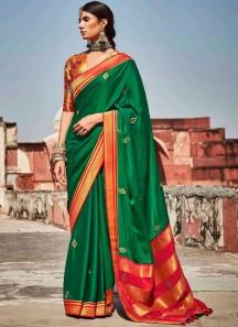 Elegant Soft Banarasi Silk Material Saree WIth Contrast Heavy Work Blouse Piece