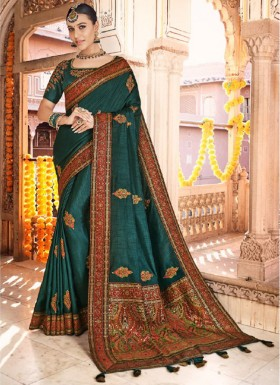 Elegant Soft Silk Saree With Weawing Butaa And Heavy Blouse Piece