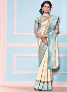 elegant art slik saree with contrast boder & contrast blouse