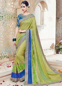 Enticing Art Silk Green Patch Border Work Traditional  Saree
