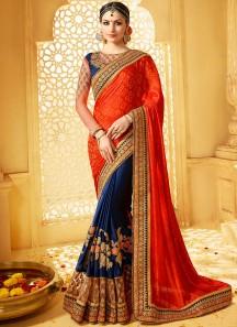 Enticing Resham Work Designer Half N Half Saree