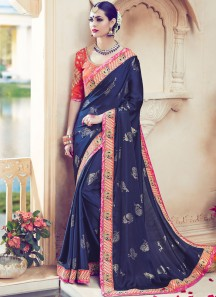 Exceeding Embroidered Work Designer Traditional Saree