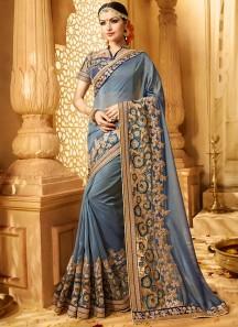Excellent Grey Resham Work Classic Designer Saree