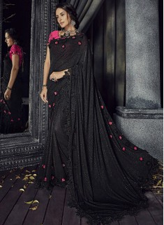 Exclusive Black Saree With Cut Work Border