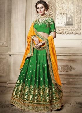 Exclusive Foil Print Lehenga Choli With Contrast Georgette Dupatta