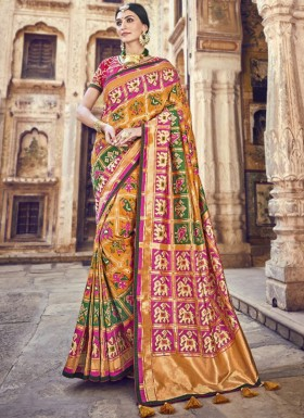 Exclusive Heavy Work Blouse Piece Saree In Top Dyed Silk Fabric