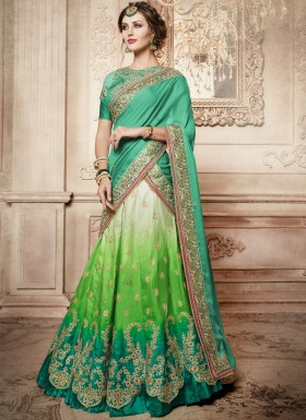 Exclusive Jhari Work Lehenga Choli With Contrast Dupatta