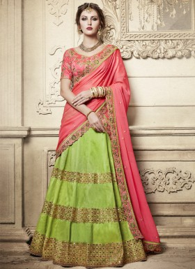 Exclusive Mirror And Jhari Work Lehenga Choli With Contrast Georgette Dupatta