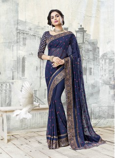Exclusive Nevy Blue Color Saree With Brocade Blouse