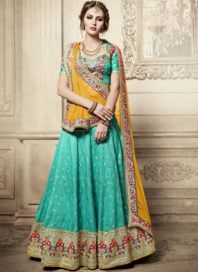 Exclusive Resham Jhari Work Lehenga Choli With Contrast Georgette Dupatta
