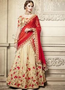 Exclusive Resham Jhari Work Lehenga Choli With Contrast Georgette Dupatta