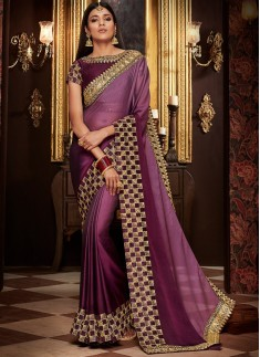 Exclusive Shaded Saree With Contrast Blouse Piece