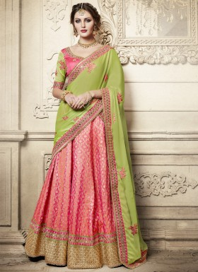 Exclusive Weaving Print Lehenga Choli With Contrast Dupatta
