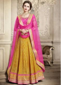 Exclusive Weaving Print Lehenga Choli With Contrast Nett Dupatta