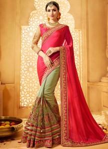 Exquisite Art Silk Half N Half  Saree