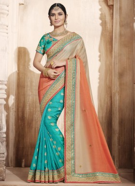 Exuberant Jacquard Silk Embroidered Work Designer Half N Half Saree