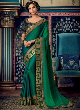Fancy Blouse Piece With Plain Saree