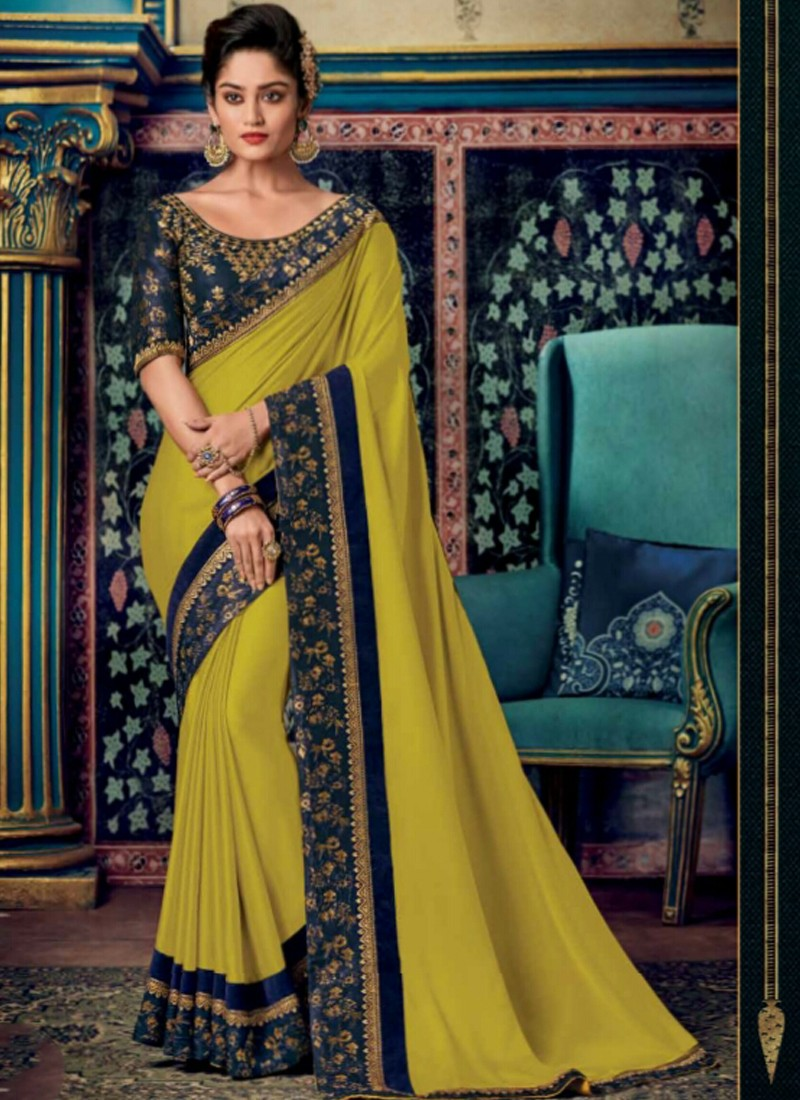 Fancy Blouse Piece With Plain Saree And Contrast Border