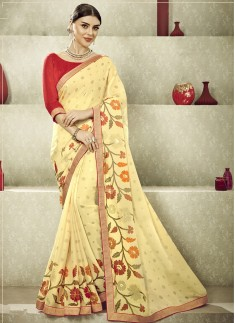 Fancy Casual Wear Saree With Decent Lace Border