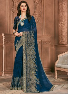 Fancy Foil Print Casual Wear Saree With Lace Border