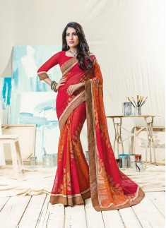Fancy Foil Print Saree With Attractive Border