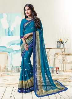 Fancy Foil Print Saree With Simple Lace Border
