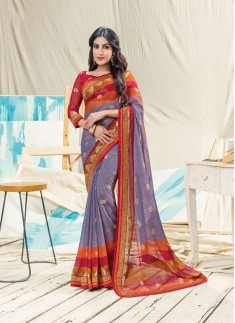 Fancy Foil Print With Skirt Border Style Saree