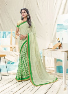 Fancy Half-Half Saree With Lace Border