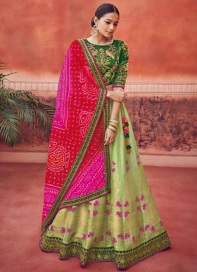 Fancy  Lehenga Choli With Contrast Bandhani Dupatta