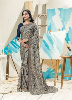 Fancy Printed Grey Color Saree With Contrast Blouse