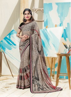 Fancy Printed Saree With Contrast Black Blouse