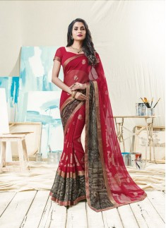 Fancy Red And Black Skirt Border Saree with Foil Print