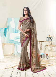 Fancy Saree With Contrast Border And Foil Print