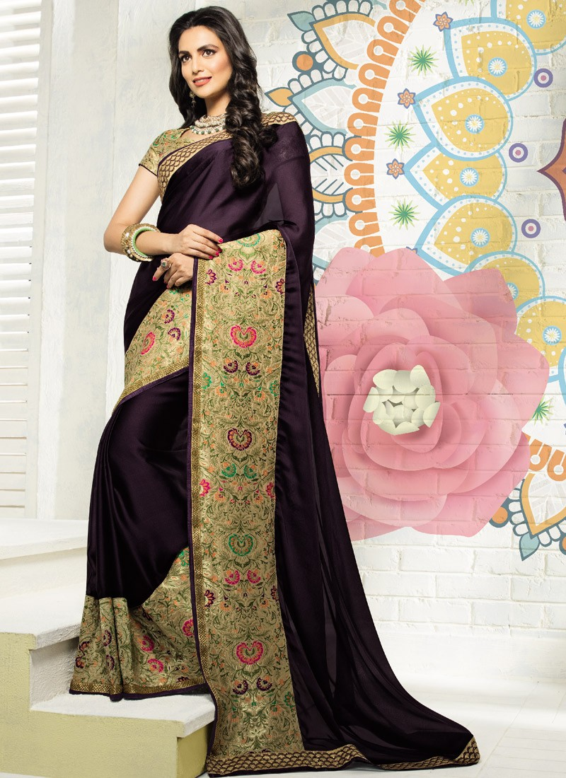 d874c0307fd396 Fancy Skirt Border Saree With Contrast Blouse