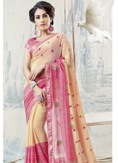 Fancy Skirt Border Saree With Two Shades Of Color