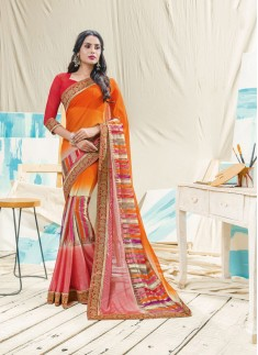 Fancy Skirt Border style Saree With Contrast Blouse