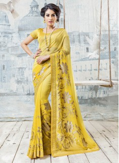 Fancy Yellow Color Saree With Elegant Lace Border And Jhari Work