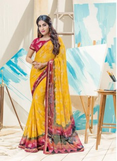 Fancy Yellow Saree With Beautiful Print With Skirt Border Style